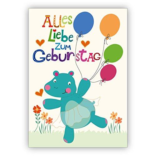 Schattige verjaardagskaart met ballerina Nilpaard - niet alleen voor kinderen: alles liefde voor verjaardag • nobele felicitatiekaarten voor verjaardag met enveloppen voor vrienden en familie 4 Grußkarten