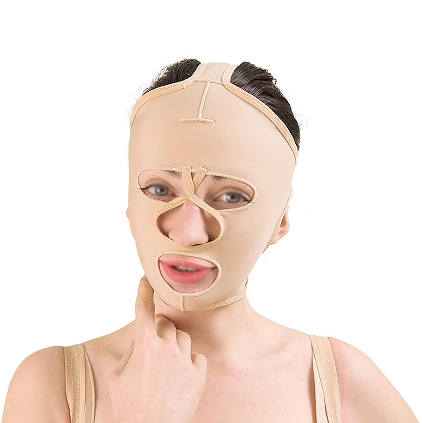 こしょう完全に乾く保存フェイシャルリフティングツール、フェイシャルビューティーリフティングマスク、通気性引き締めリフティングフェイシャル包帯、フェイシャルタイトバンデージ(サイズ:L),S