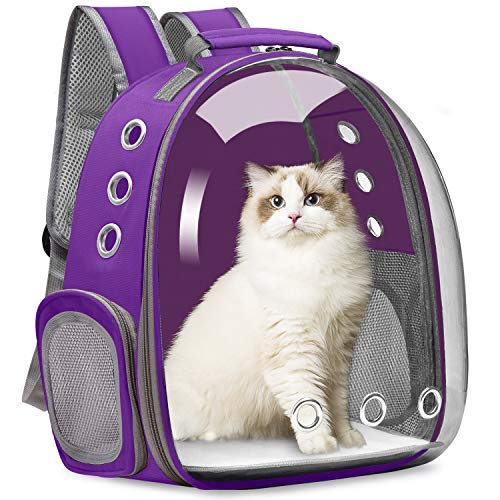Vailge Cat Carrier Backpack, Pet Carrier Backpack Front Pack for Small Medium Cat Puppy Dog Carrier Backpack Bag Space Capsule, Pet Carrier for Travel Hiking Walking Camping (Purple)