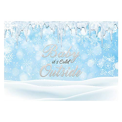 Funnytree 7x5ft It's Cold Outside Baby Shower Party Backdrop Winter Wonderland Photography Background Baby Shower Birthday Ice Snowflake Silver Banner Portrait Cake Table Decoration Photo Booth