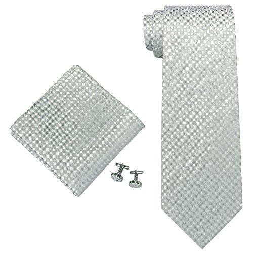 Landisun 1816E argent gris plaids Homme Soie Ensemble: Cravate Mouchoir Accroche Plastique