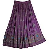 Radhykrishnafashions Indian Yoga - Falda larga para mujer con lentejuelas para escoba gitana, vestido de novia. Morado Morado ( 36