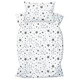 Amilian Kinderbettwäsche 2-teilig 100% Baumwolle Kinder Bettwäsche Babybettwäsche für Baby Bettbezug 100 x 135 cm, Kopfkissenbezug 40 x 60 cm, mit Hotelverschluß Gute Nacht grau