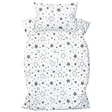Amilian Ropa de cama infantil de 2 piezas, 100% algodón, ropa de cama para bebé, funda nórdica de 100 x 135 cm, funda de almohada de 40 x 60 cm, con cierre de hotel, color gris