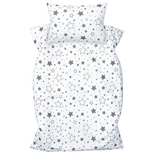 Amilian - Juego de ropa de cama infantil (2 piezas, 100% algodón, funda nórdica de 100 x 135 cm, funda de almohada de 40 x 60 cm, cierre de hotel), color gris
