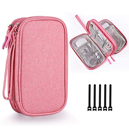 Bevegekos Electronics Accessories Organizer Pouch Bag for Power AdapterChargerCablesWireless Mouse for GirlsPink