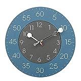 Chtom Relojes de pared Azul Negro Contraste Color Redondo Silent Wall Reloj Sala de estar Decoración del hogar Acento Decoración Artículos Adornos Artesanía Moderno Moda Personalidad Regalo 30 * 30 cm