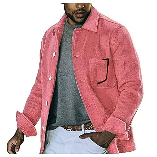XUEbing Hombres Invierno Lana Abrigo Casual Suelto Hipster Chaqueta Solo Breasted Color Puro Suave Toque Outwear con Bolsillo, rosso, 3XL