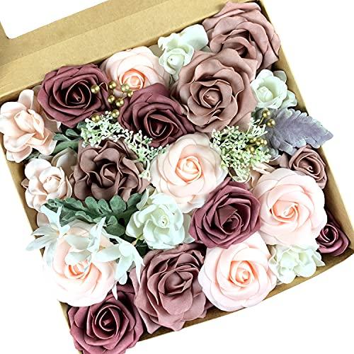 Roqueen Flores Artificiales Rose Flowers Fake Combo para DIY Ramos de Boda Centros de Mesa Arreglos Fiesta Decoraciones para el hogar