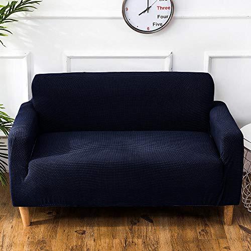 Fundas de sofá de terciopelo de 1/2/3/4 plazas, funda de sofá regular de grano de maíz de punto, funda de sofá seccional sólida para dormitorio, funda de sofá elástica-Azul oscuro_M el 145-185cm