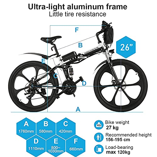 ANCHEER Electric Mountain Bike, 26'' Folding Electric Bike with Magnesium Alloy 6-Spoke Integrated Wheels and Advanced full Suspension, Ebike with Shimano 21-Speed Gear for men/women/adults