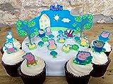 Toppershack 24 x decoración para pasteles comestibles PRECORTADAS de Peppa Pig