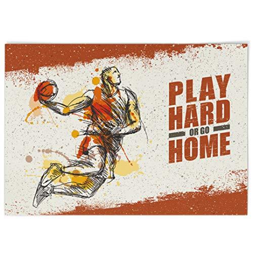Dekali Designs Basketball-Poster mit inspirierendem Zitat – 71,1 x 101,6 cm extragroßes Poster – cooles Motivationsposter für Jungen-Schlafsaal, Männerhöhle, Jungen-Schlafzimmer, Sport-Dekor (weiß)