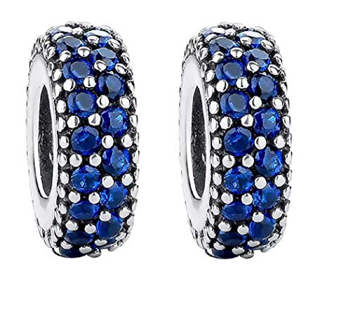 FeatherWish - Charm in argento sterling 925, con pavé, distanziatore, con zirconia cubica, compatibile con braccialetti Pandora e Argento, colore: Blu