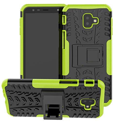 Yiakeng Samsung J6 Plus Cover, Galaxy J6+ Cover, Doppio Strato Silicone Antiurto Far Cadere Protezione con Kickstand Custodia per Samsung Galaxy J6 Plus (Verde)
