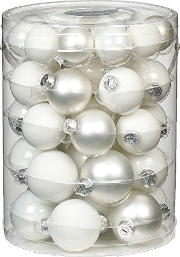 44 TLG. Christbaumkugeln Glas 4,5,6cm Just White-Mix (weiß) Set // Weihnachtskugeln Christbaumschmuck Baumkugeln Baumschmuck Weihnachtsdeko Kugeln Glaskugeln Dose