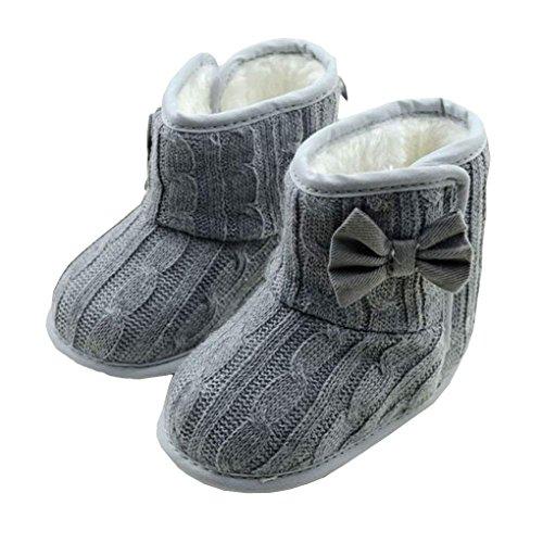 Mädchen Jungen Baby Kleinkinder Wanderschuhe mingfa Winter Warm Schleife weicher Sohle Schneestiefel für Kinder Kind Age:12- 18 M grau