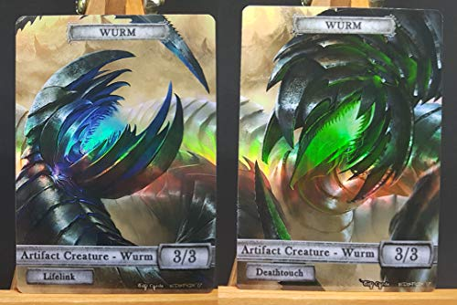 2X Artifact Wurms #3 FOIL Laminated Custom Altered Tokens (for Wurmcoil Engine)