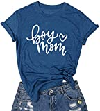 LUBERLIN Boy Mom Tee Shirt for Women Short Sleeve Letter Printed Graphic Mom Gifts Tee Shirts (Blue,M)