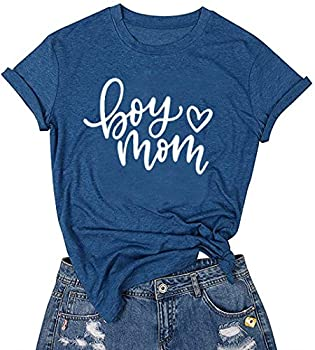 LUBERLIN Boy Mom Tee Shirt for Women Short Sleeve Letter Printed Graphic Mom Gifts Tee Shirts  Blue,M