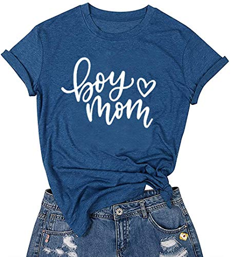 LUBERLIN Boy Mom Tee Shirt for Women Short Sleeve Letter Printed Graphic Mom Gifts Tee Shirts (Blue,S)
