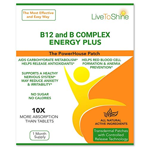 B-12 and B Complex Patch - Natural Ingredients for Energy, Alertness and Wellbeing - USA Made by Live To Shine
