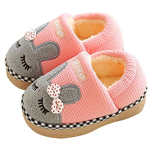 SITAILE Cute Home Shoes, Girls Boys Fur Lined Indoor House Slipper Bunny Warm Winter Toddler Slippers Cover Heel Pink Size 6.5-7 Toddler