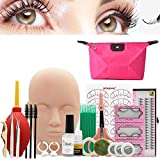 Eyelash Extension Kit, MQ 18Pcs False Eyelashes Extension Practice Exercise Grafting Training Set with Mannequin Head 7 Boxes False Eyelashes 3Pcs Tweezers Tools Lashes Glue Storage Bag Christmas Gift
