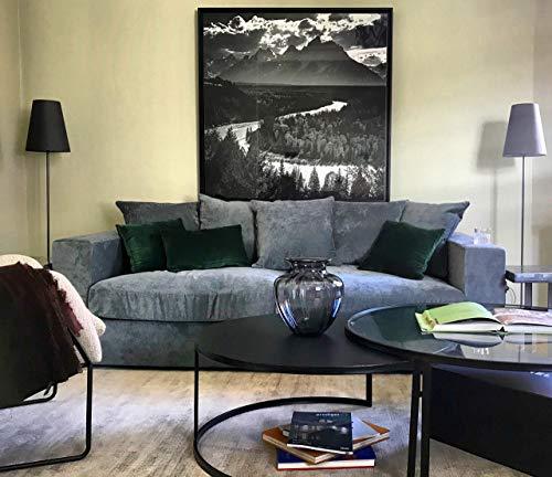 Amaris Elements | 'Cooper' Moderno sofá de 3plazas Incluye 5Almohada, sofá, 100% Microfibra, imitación de Terciopelo Azul Gris–3sofá en Estilo rústico