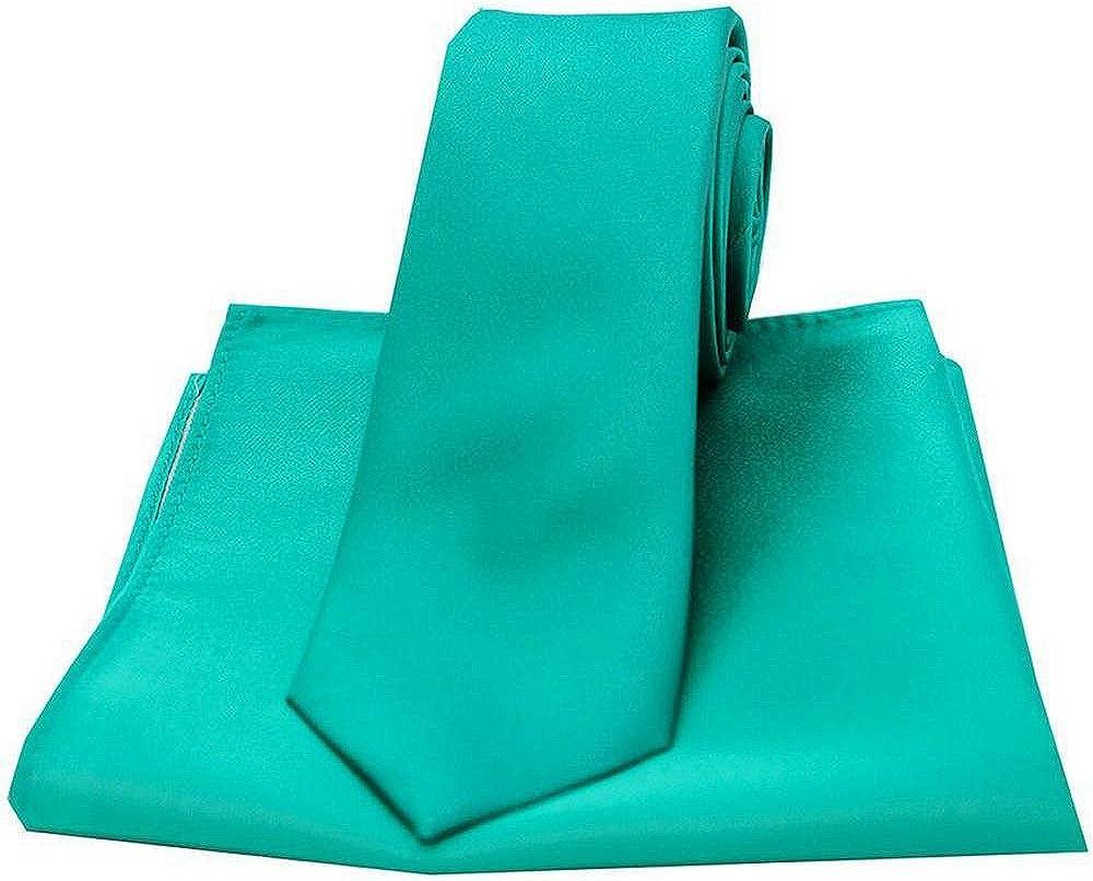 David Van Hagen Mens Satin Thin Tie and Pocket Square Set - Sea Green