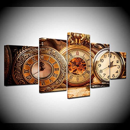 BDFDF Cuadro sobre Lienzo - 5 Piezas - Impresión En Lien Reloj De Bolsillo Retro 5 Piezas Imágenes Pared Decoración De Dormitorio Modular Regalos De Cumpleaños De Navidad