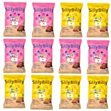 SillyBilly - Snack ecológico - Cuadraditos de Fresa y Arándanos (6 bolsas) y Plátano y cacao (6 bolsas)