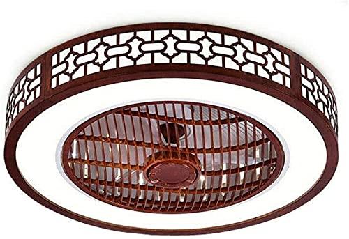 MAMINGBO Ventilador de techo interior con luz LED y control remoto 22 pulgadas Ventilador de Celing con luz y moderna fachada redonda moderna con marco de madera, lámpara de techo de montaje semi al r