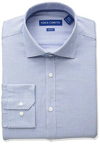 Vince Camuto Men's Slim Fit Spread Comfort Collar Dress Shirt, Turquoise, 15 32/33