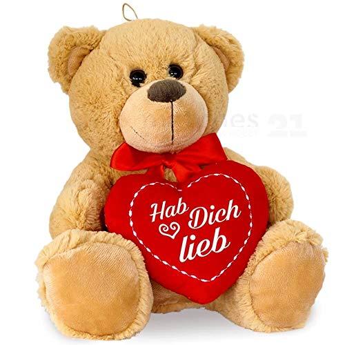 matches21 Teddybär mit Herz / Herzteddy ** Hab Dich lieb ** Hellbraun / beige 25 cm - DIE Geschenkidee Klassiker Freundin