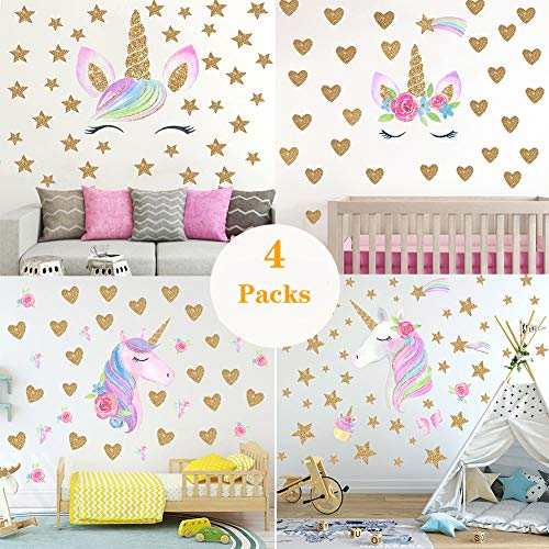 Unicorn Wall Decal,4 Packs Unicorn Wall Decor Stickers with Heart & Stars for Kids Girls Bedroom Nursery Home Party Favors (Set1)