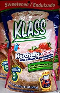 Klass Horchata Strawberry Mix 14.1 Oz Pack of 3