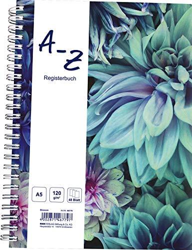 "RNK 46779 - Notizbuch mit Register A-Z \""Blossom\"", DIN A5, 48 Blatt, 120 g/m², 1 Stück"