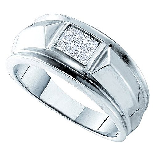 DazzlingRock Collection Anillo de boda invisible para hombre de oro blanco de 14 quilates con diamantes blancos de princesa de 0,25 quilates