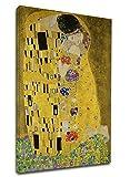 Cuadro Klimt El Beso (Amantes) -Gustav Klimt The Kiss (Lovers) Marco Lienzo (Cuadro con Marco DE Madera, CM 85X130)