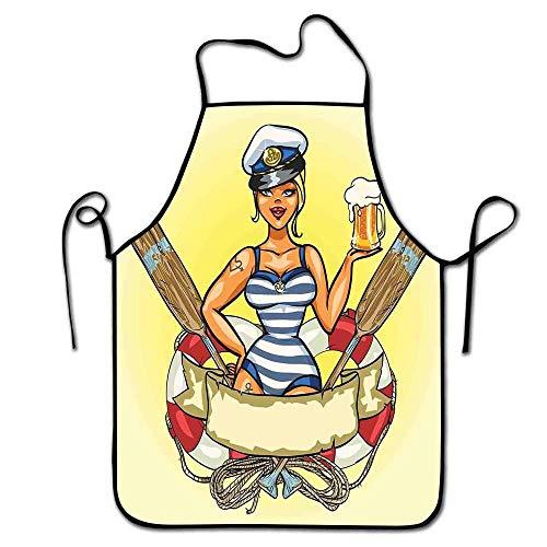 Not Applicable Mädchen Schürze Männer BBQ Pin Up Sexy Seemann Mädchen Rettungsring mit Kapitän Hut und Kostüm Glas Bier Feminine Schürze Zeichnung Multicolor
