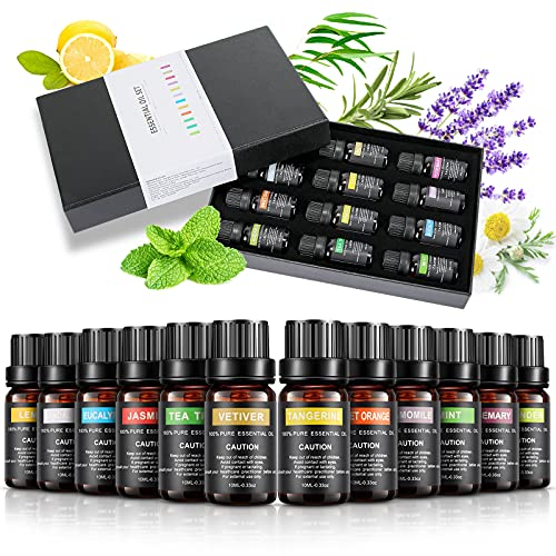Aceites Esenciales, Aceites de Aromaterapia 12 Pcs x 10 ml, 100% Naturales Puros Aceites Aromáticos para Difusores ( Árbol de té, Lavanda, Limón, Eucalipto, Naranja Dulce, Menta)