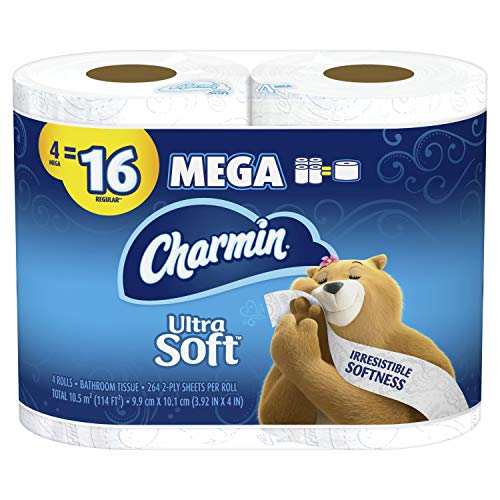 Charmin Ultra Soft Bathroom Tissue, 4 Count (Pack of 1), White