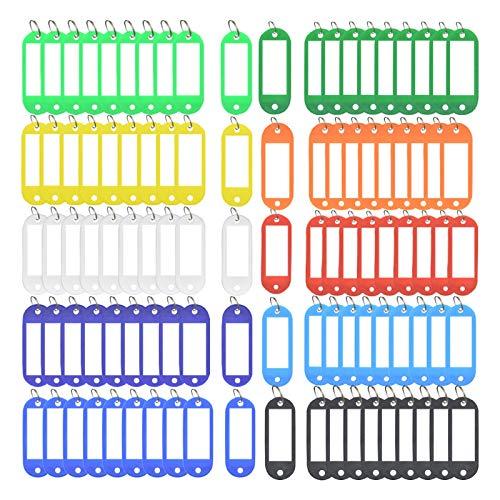 NIAGUOJI 100 pezzi Portachiavi Targhette per Chiavi, Etichette per chiavi domestiche con anello diviso,Carta Rimovibile e Sostituibile, 10 colori, Portachiavi per Auto,Etichette Identificative Bagagli