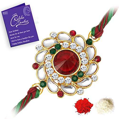 Sukkhi Elegant Kundan Rakhi with Roli Chawal and Raksha Bandhan Greeting Card For Men (RAK73480)