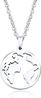 SNOWLIN World Map Necklace Geometric Earth Globe Map Necklace Travel Gift for Women Girls