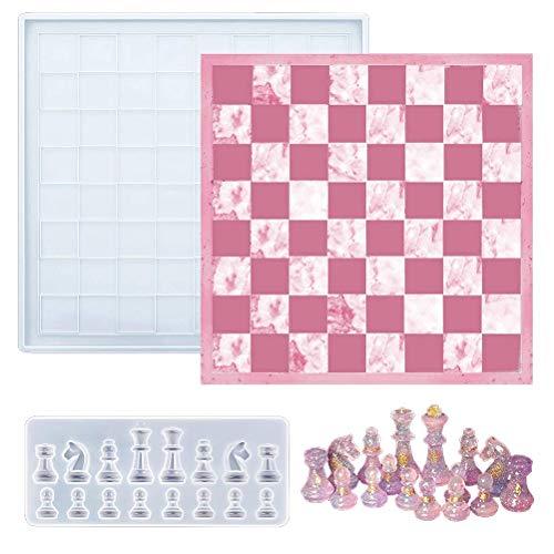 LINONI Schachbrett-Schachfiguren aus Silikon, Kristall-Epoxidharz-Form, DIY, Handwerk, Werkzeuge für internationale Schachbretter