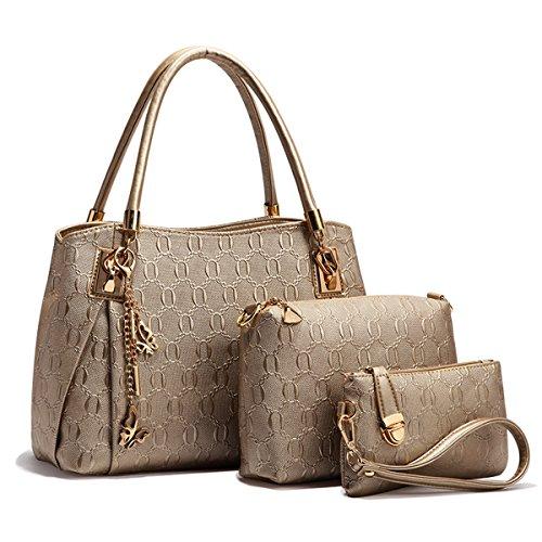 Aoturui dames handtas tas 3-delige set met crossbody tas en portemonnee/lederen handtas + schoudertas + portemonnee 3 stuks