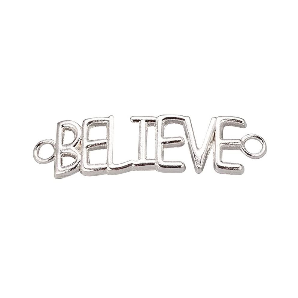 NBEADS 10 PCS Silver Color Alloy Word Letter Links, BELIEVE Bracelet Necklace Charm Connector Pendant for DIY Jewelry Making Crafts