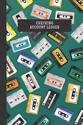 Checking Account Ledger: Colorful Retro Music Cassette Tapes on Green / Small Check Register for Personal Checkbook / 2,400+ Entries / Spending - ... Notebook / Cute Gift For Organized Person